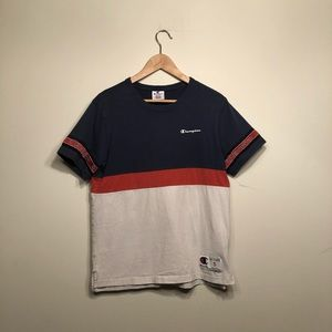Champion Navy Blue/Red/White Stripe Tee